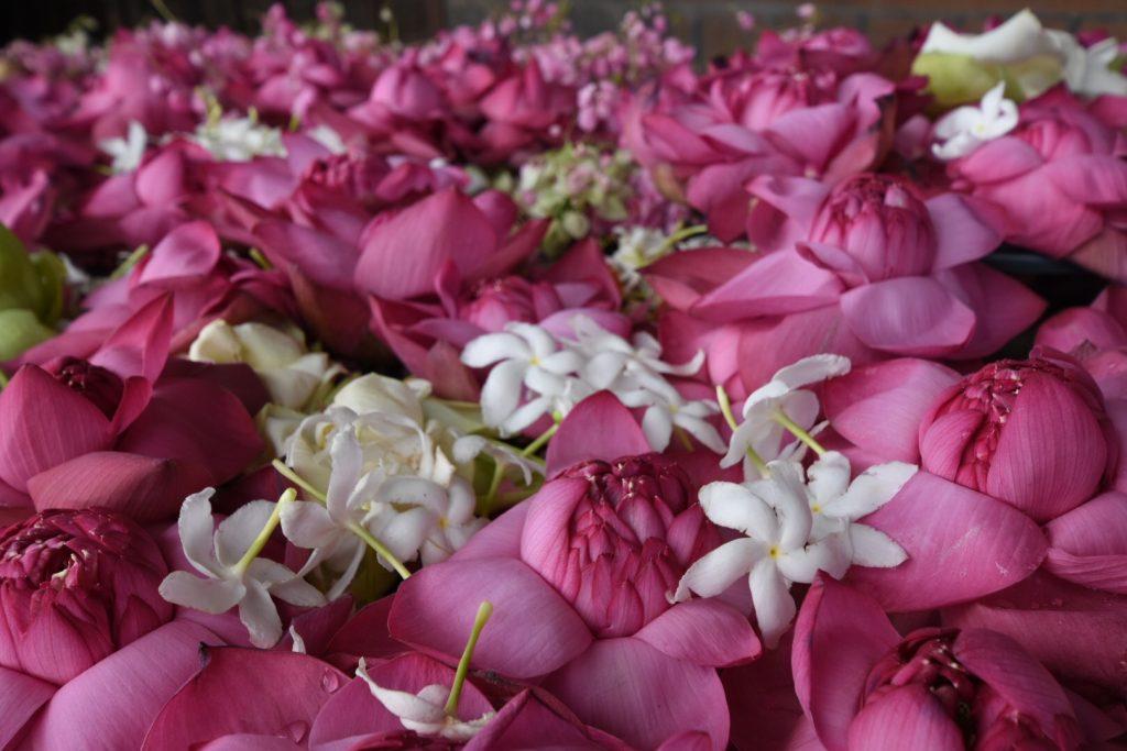 Die typischen Blütengaben vor jedem Altar