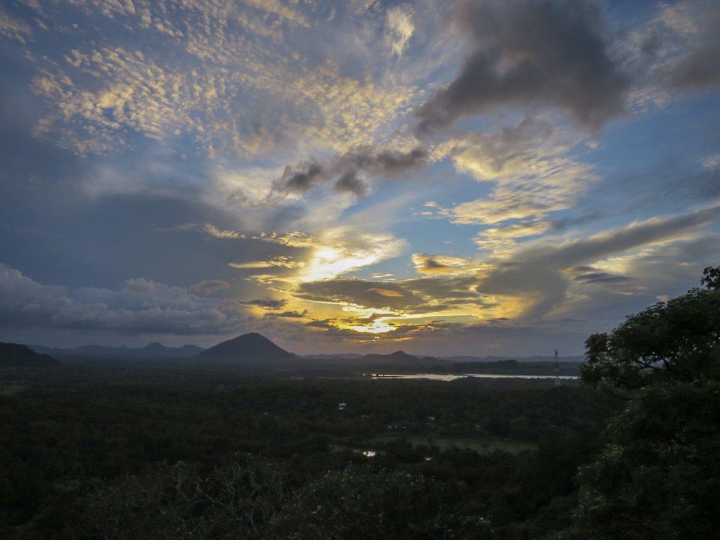 Goldener Sonnenuntergang über dem Dschungel