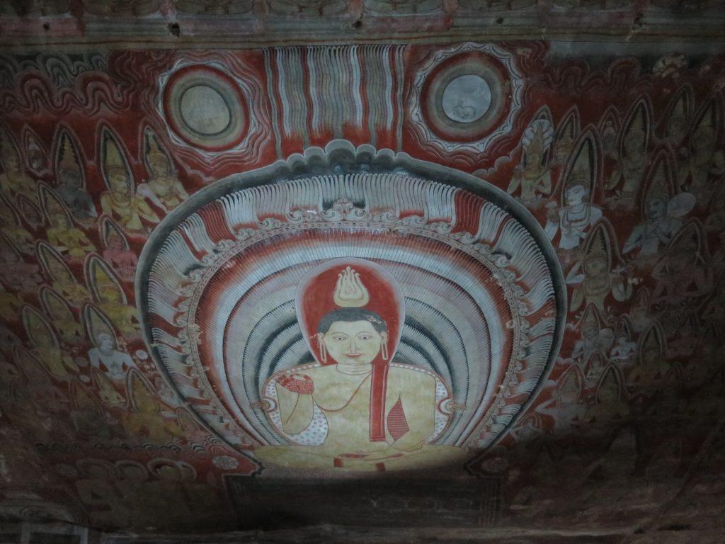Wandmalerei in den Höhlen von Dambulla