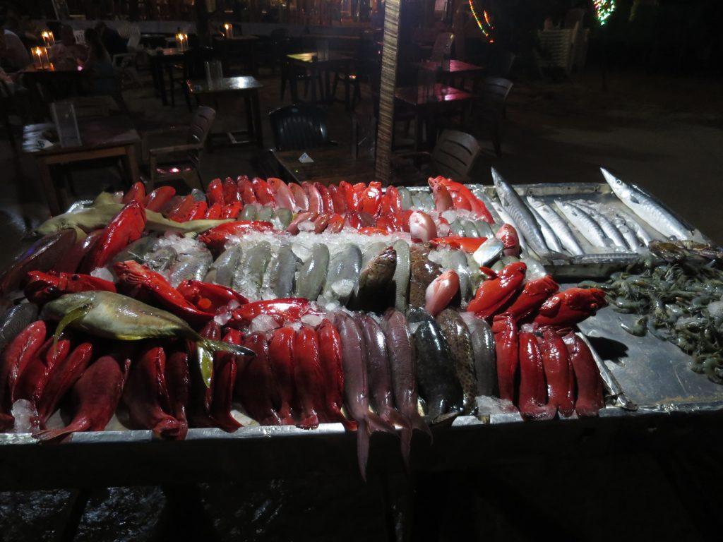 Fischtheke mit frischem Fisch