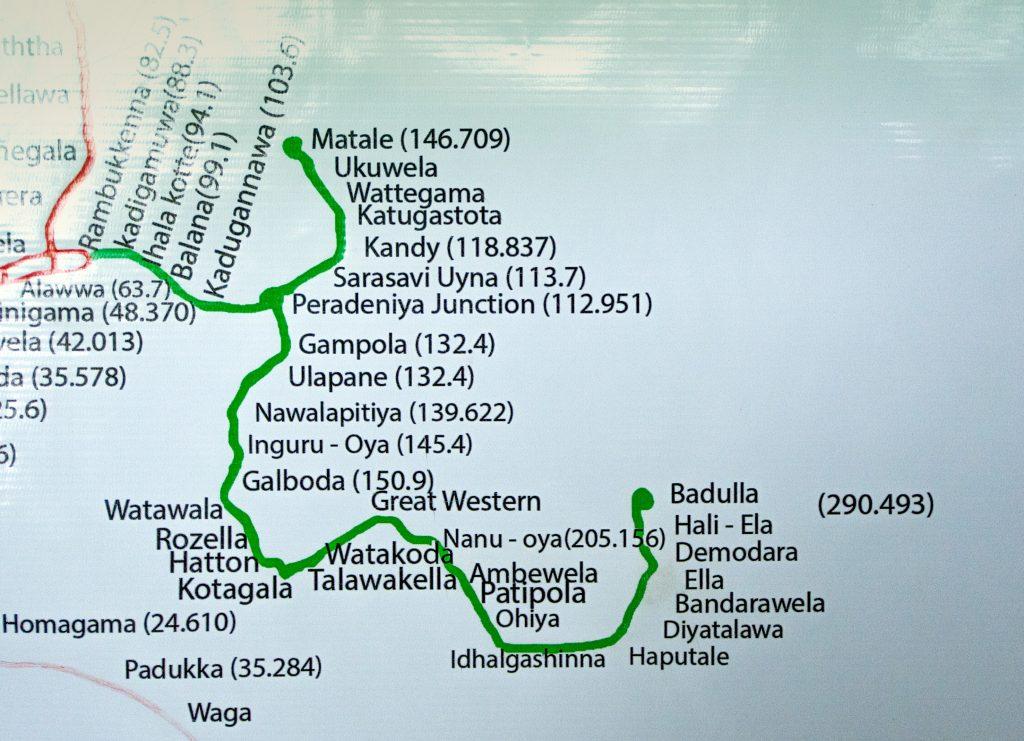 Eisenbahnstrecke von Kandy bzw. Matale bis Badulla